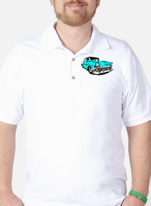 56 Bel Air 2 Door in Powder Blue Golf Shirt