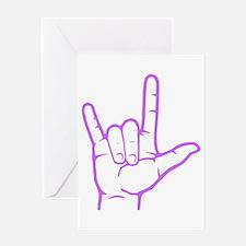 Purple ASL I Love You Greeting Card