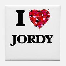 I Love Jordy Tile Coaster