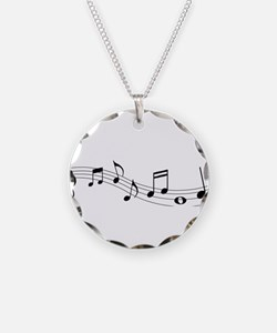 Music Notes Necklace Circle Charm