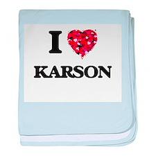 I Love Karson baby blanket