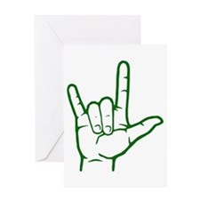 Green ASL I Love You Greeting Card