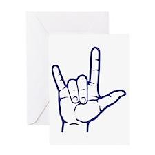 Dark Blue ASL I Love You Greeting Card
