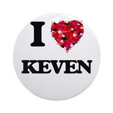 I Love Keven Ornament (Round)