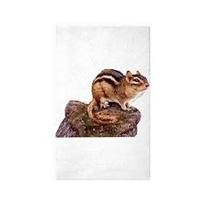 Cute Chipmunk on a Rock Area Rug