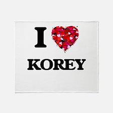 I Love Korey Throw Blanket