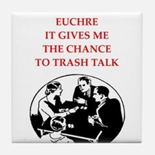 euchre joke Tile Coaster