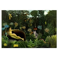 The cat in art painting Henri Rousseau Poster
