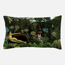 The cat in art painting Henri Rousseau Pillow Case