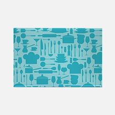 Cozy Retro Kitchen - Aqua Blue Rectangle Magnet