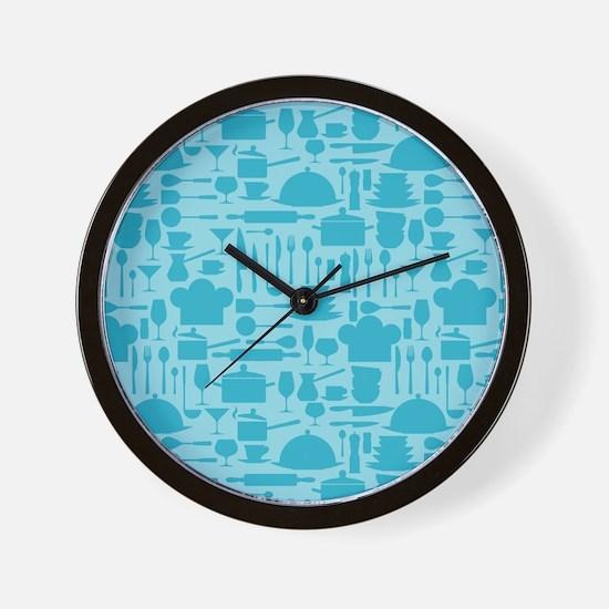 Cozy Retro Kitchen - Aqua Blue Wall Clock