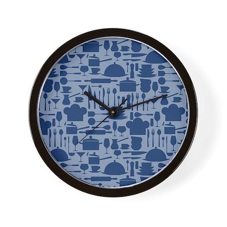 cozy retro kitchen dark blue wall clock by nature tees