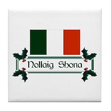 Irish Nollaig Shona Tile Coaster