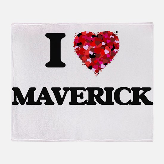 I Love Maverick Throw Blanket