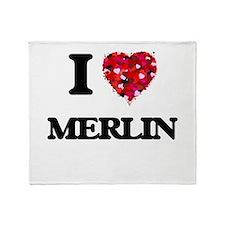 I Love Merlin Throw Blanket