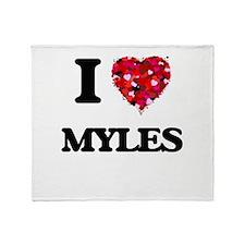 I Love Myles Throw Blanket