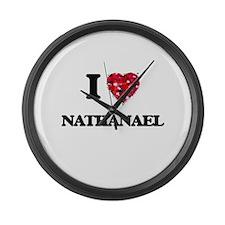 I Love Nathanael Large Wall Clock