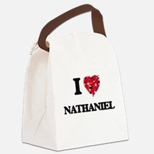 I Love Nathaniel Canvas Lunch Bag