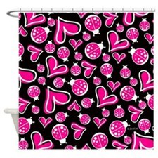 Hearts & Ladybugs Shower Curtain