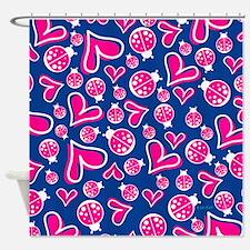 Hearts & Ladybugs Shower Curtain