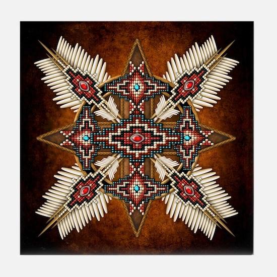 Native American Style Mandala 28 Tile Coaster