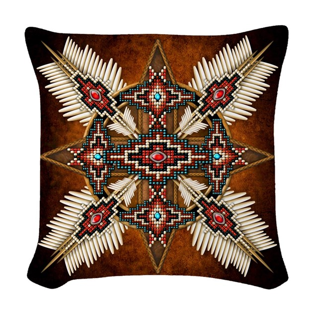 Native American Style Mandala Woven Throw Pillow By