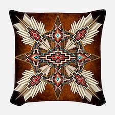 Native American Style Mandala Woven Throw Pillow