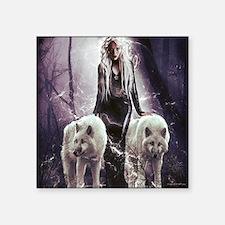 """Funny White wolf Square Sticker 3"""" x 3"""""""