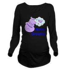 Cute Purple hippos Long Sleeve Maternity T-Shirt