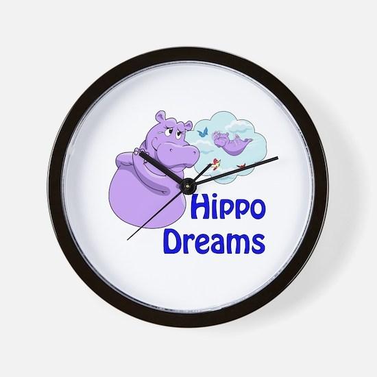 Cute Purple hippos Wall Clock