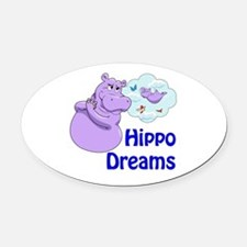 Unique Hippopotamus Oval Car Magnet