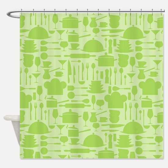 Retro Kitchen Light Green Shower Curtain