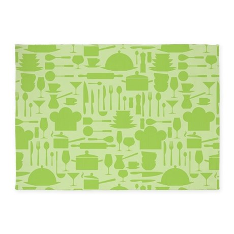 Retro Kitchen Light Green 5u0027x7u0027Area Rug