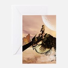Dragon with elf Greeting Cards