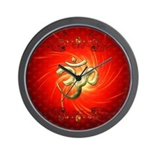 The sign om in gold Wall Clock