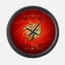 The sign om in gold Large Wall Clock