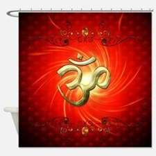 The sign om in gold Shower Curtain