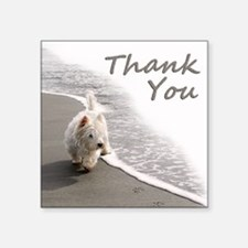 "Westie Thank You Square Sticker 3"" x 3"""