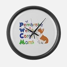 Welsh Corgi Mom Large Wall Clock