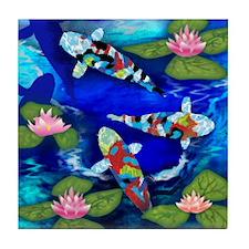 KOI FISH WATER LILIES Tile Coaster