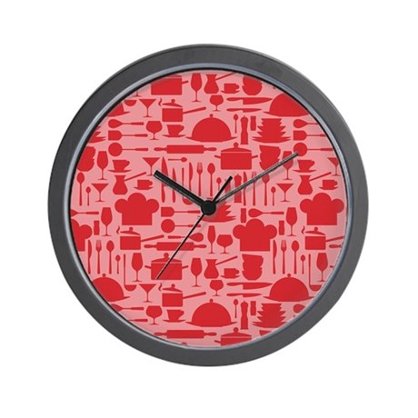 Cozy Retro Kitchen Red Wall Clock By Nature Tees