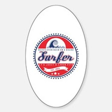 Vintage Surfer Logo Sticker (Oval)