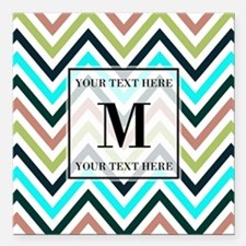 "Chevron Pattern with Cus Square Car Magnet 3"" x 3"""