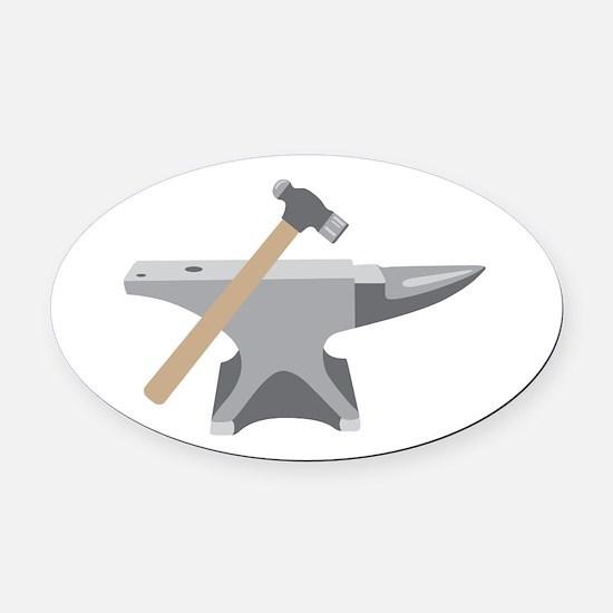 Anvil & Hammer Oval Car Magnet