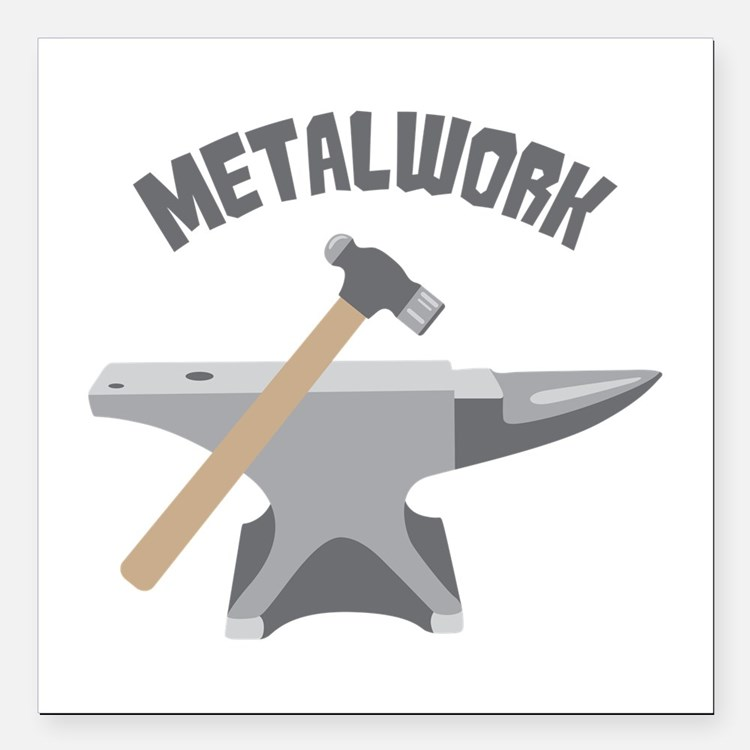 "Metal Work Square Car Magnet 3"" x 3"""