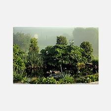 Garden in mist, Arzua,Spain Rectangle Magnet