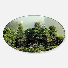 Garden in mist, Arzua,Spain Sticker (Oval)