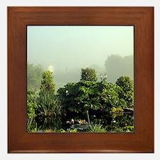 Garden in mist, Arzua,Spain Framed Tile