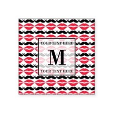 "Lips and Mustache with Cust Square Sticker 3"" x 3"""