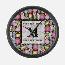 Floral Pattern with Custom Monogr Large Wall Clock